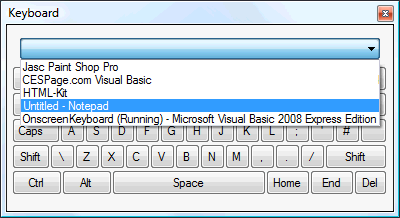 CESPage com Visual Basic - Tutorials - On-Screen Keyboard
