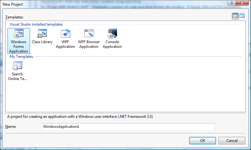 Choose Windows Forms Application From The New Project Window Enter A Name For And Then Click OK See Below